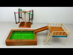 Crafts With Popsicle Sticks DIY Playground Toys - Miniature Swimming Pool Slide & Swings Sticks Furniture, Diy Kids Furniture, Doll Furniture, Shelf Furniture, Diy Popsicle Stick Crafts, Popsicle Stick Houses, Swimming Pool Slides, Swimming Pools, Barbie Furniture Tutorial