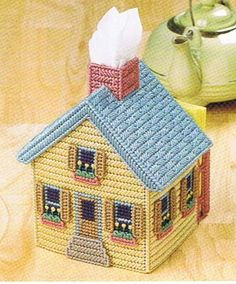 Image detail for -ENGLISH COTTAGE Tissue Box Cover PLASTIC CANVAS PATTERN by M2Hawk