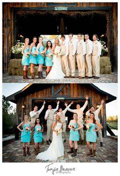 Keeler Property Wedding Photos - Jacksonville Wedding Photography - Tonya Beaver Photography  - Covered Bridge - Bridal Party Jump - Turquoise Bridesmaid Dresses - Cowboy Cowgirl Boots - Tan Tux - Pink Ties