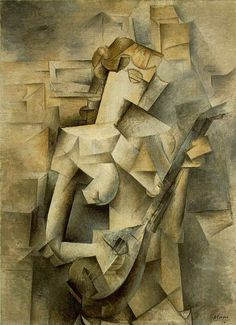 "Girl with a Mandolin (Fanny Tellier), 1910. Pablo Picasso (Spanish, 1881–1973). Oil on canvas. Museum of Modern Art. ""…is not only one of the most beautiful, lyrical and accessible of all Cubist paintings, but is also a valuable document of the period…Picasso saw the work as unfinished, allows us an insight into his aesthetic intentions and his technical procedure…Cubist paintings were becoming more abstract in appearance..."" — John Golding"
