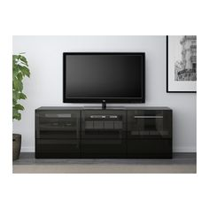 BESTÅ TV bench with doors and drawers - black-brown/Selsviken high gloss/black clear glass, drawer runner, soft-closing - IKEA