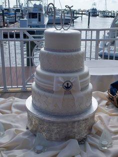 """Fondant wedding cake with """"bling"""""""