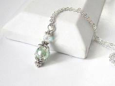 Mint Bridesmaid Necklace Pastel Green Pearl by UrbanDaisyBridal, £11.25