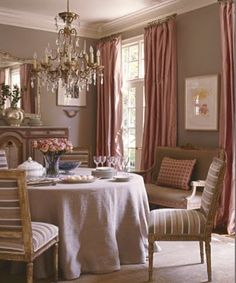 Suzanne Kasler dining room Note the colors palette, the silk drapes, the chandelier, the skirted table