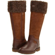 Le Chameau Jameson Fur GORE-TEX Women's Boots, Brown ($240) ❤ liked on Polyvore featuring shoes, boots, brown, knee-high boots, knee-high waterproof boots, brown knee high boots, brown shoes, knee high fur boots y waterproof slip on shoes
