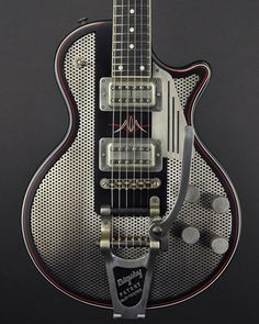 James Trussart Guitars  SteelDeville Antique Silver Perforated Front Custom Pinstripe on satin black. Arcane Ultratron pickups