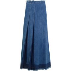 See by Chloé - Pleated Denim Maxi Skirt (1.702.260 IDR) ❤ liked on Polyvore featuring skirts, mid denim, zip skirt, blue pleated skirt, see by chloe skirt, zipper skirt and blue skirt