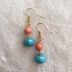 Dainty mixed stone drop earrings NWOT coral and turquoise colored mixed stone drop earrings. Cute as they can be. Jewelry Earrings