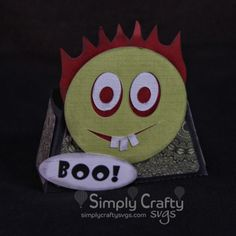 Smiley Halloween Zombie Treat Box SVG File. Halloween SVG Favor Box. #simplycraftysvgs #svgcuttingfiles