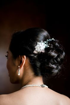 Glamorous Miami Wedding from Ricky Stern - updo hairstyle, flower hairpiece