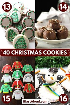 Make your house smell divine with these festive and tasty Christmas cookies recipes. Enjoy them yourself or use them for a cute Christmas edible gift. New Year's Desserts, Christmas Desserts Easy, Best Christmas Cookies, Christmas Snacks, Cute Desserts, Christmas Cooking, Holiday Cookies, Holiday Treats, Holiday Recipes