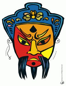 Chinese Man Mask Printable http://www.craftjr.com/printable-chinese-masks-and-coloring-pages/#