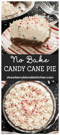 No bake Candy Cane Pie is creamy, dreamy and delicious using store bought in., Desserts, No bake Candy Cane Pie is creamy, dreamy and delicious using store bought ingredients such as a pie crust and JELL-O chocolate instant pudding. Dessert Party, Bon Dessert, Party Snacks, Dessert Simple, Christmas Sweets, Christmas Cooking, Christmas Parties, Christmas Decor, Xmas