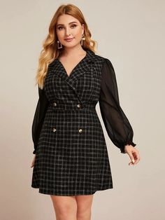 To find out about the Plus Double Button Sheer Sleeve Plaid Dress at SHEIN, part of our latest Plus Size Dresses ready to shop online today! Mode D'inspiration Vintage, Flattering Plus Size Dresses, Dresses For Work, Dresses With Sleeves, Wrap Dresses, Vintage Inspired Fashion, Plaid Dress, Dress Casual, Outfits