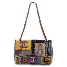 Rachel White Vintage Chanel Jumbo Patchwork Bag - Multi (€6.480) ❤ liked on Polyvore featuring bags, handbags, chanel, leather handbags, chain strap purse, long strap purse, hand bags and white handbags
