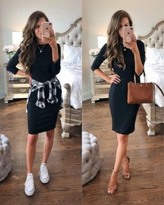 64 what to wear for spring and the best spring outfits 2019 9 Black Dress Outfits, Cute Casual Outfits, Spring Outfits, Casual Dresses, Black Tshirt Dress Outfit, Outfit Jeans, Outfit With White Vans, Keds Shoes Outfit, Work Dresses