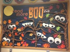 Halloween Classroom Decorations which are Scary, Spooky & Simply the Best - Ethinify Elementary Bulletin Boards, October Bulletin Boards, Halloween Bulletin Boards, Teacher Bulletin Boards, Reading Bulletin Boards, Preschool Bulletin Boards, Elementary Library, School Library Displays, School Libraries