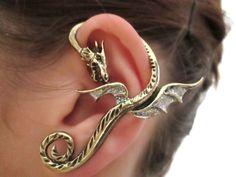 Glitter Neverland dragon earring cuff por StylesBiju en Etsy