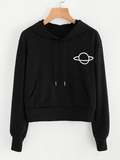 Shop Planet Print Drawstring Hoodie at ROMWE, discover more fashion styles online. Cropped Tumblr, Simple Outfits, Cool Outfits, Cute Pajamas, Cute Crop Tops, Tumblr Outfits, Cropped Hoodie, Hoodies, Sweatshirts