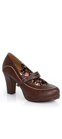 Brown Leatherette Closed Toe Loire Mary Jane Pumps