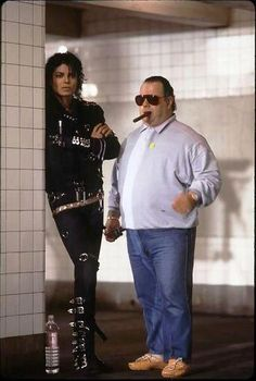 with Frank Dileo on the set of BAD-Michael is so georgeous in this video!