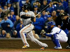 San Francisco Giants outfielder Michael Morse (38) hits an RBI single in the fourth inning of Game 7 of baseball's World Series at Kauffman Stadium in Kansas City, Mo., on Wednesday, Oct. 29, 2014.  (Nhat V. Meyer/Bay Area News Group)