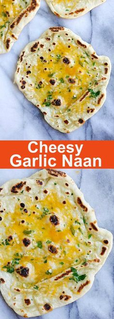 Cheesy Garlic Naan – homemade naan topped with garlic and cheddar cheese. Cheesy, buttery, garlicky naan that you can't stop eating   rasamalaysia.com