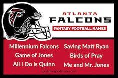 Atlanta Falcons Fantasy Football Names, NFL Team Cool Fantasy Football Names, Fantasy Football League, Nfc East Teams, 32 Nfl Teams, Football Positions, Falcons Game, Football Team Names, Devonta Freeman, Feel Good Stories