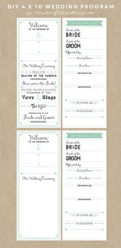 DIY Wedding Program TEMPLATE. (this would be a time saver if you guys are thinking programs for the ceremony) @aekendall