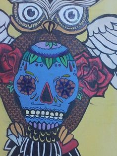 Owl, Day of the Dead Mexican Candy Skull and Roses. Acrylic painting on canvas
