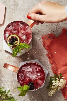 Blackberry-Mint Moscow Mules : Classic Cocktails - Blackberry and Mint Moscow Mule Cool down on a hot summer day with this blackberry-mint moscow mule. Blackberry Drinks, Blackberry Recipes, Keto Cocktails, Cocktail Recipes, Classic Cocktails, Cocktail Ideas, Craft Cocktails, Cocktail Drinks, Fun Drinks
