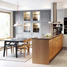 Cucina con frontali cassetto, ante e ante a vetro BODBYN, grigio ...