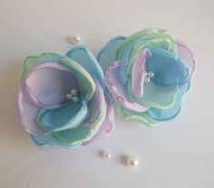 Multicolor mint lilac sky blue fabric Flowers handmade Bridal