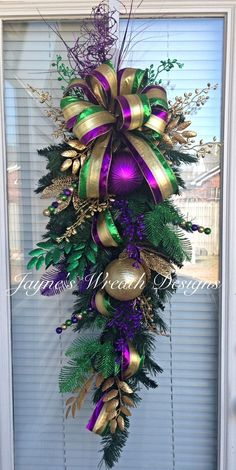 Mardi Gras Door Swag / Wreath  Jayne's wreath designs on FB and Instagram