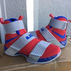 4f1759f5513 Nike Lebron Soldier 10 iD Championship NikeiD RED BLUE GREY 885682-991 Men  Sz 7