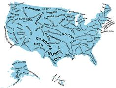"""The Stereotype Map Of Every U.S. State — According To British People  (I'll take the """"Fucked Up Shit"""" and """"Alligators"""" because @ Chuck C gets """"Light Inbreeding"""" and """"Hillbillies"""".  True dat!)"""