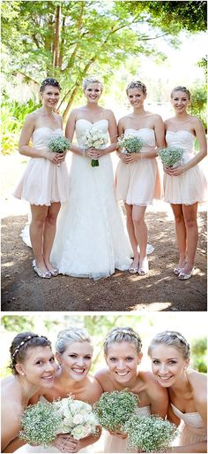 Love the color of the bridesmaids. Too short. But adorable baby's breath bouquets.