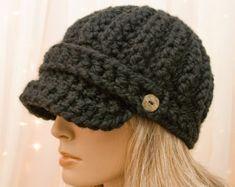 Crochet el sombrero de vendedor de periódicos - negro - vendedor de periódicos de cálida lana - hecho a la medida