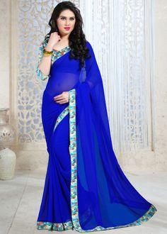 Blue Reco Georgette Printed saree
