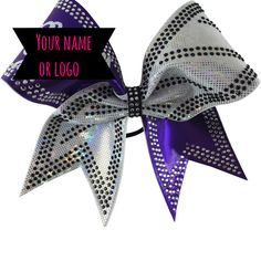 2 color bow with black and clear rhinestones. You can add your team name.