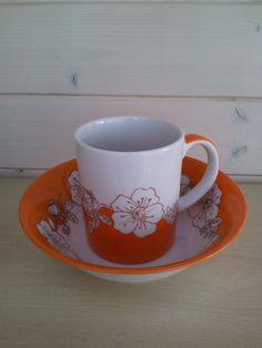 Mug et bol à céréales en porcelaine, peints à la main : Cuisine et service de table par les-pinceaux-de-sophie