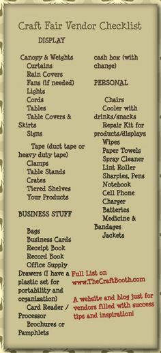 Full list of everything you need for your first craft fair