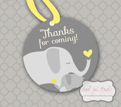 INSTANT DOWNLOAD Yellows and Grays Elephant Baby Shower favor printable favor tag by AddiJaiStudio, $4.00