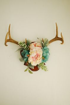 Real Vintage Floral Deer Antler Mount - Taxidermy Wall Hanging Flowers Succulents Blush Pink Green Blue Home Wall Decor Decoration Taxidermy by hunterdear on Etsy https://www.etsy.com/listing/498530935/real-vintage-floral-deer-antler-mount
