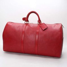 Louis Vuitton Keepall 55  Epi Handle bags Red Leather M42957