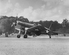 The first Corsair on Guadalcanal, VMF-124.