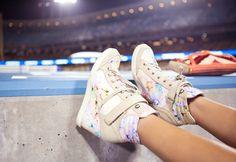 Floral Wedge Sneakers