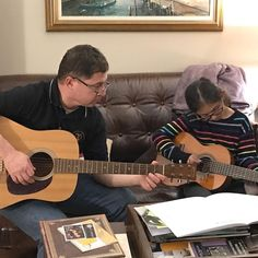 Getting some guitar practice in with her dad @djfugazz . . . . #guitarlessons #guitar #daddydaughtertime