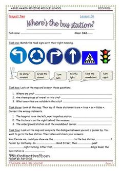 Asking and giving directionsintroduce some road signs and expressions related to places and location, ask and give directions. Interpret a map from non verbal to verbal. - ESL worksheets