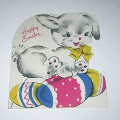 Vintage Novelty Easter Greeting Card with Cute White Rabbit and Colored Eggs
